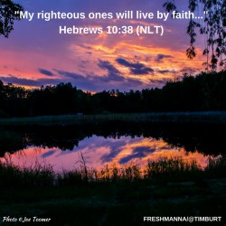 -My righteous ones will live byfaith  Hebrews 10-38