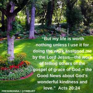 """But my life is worth nothing unless I use it for doing the work assigned me by the Lord Jesus—the work of telling others of the gospel of grace of God – the Good News about God's wonderful kindness and love."" Acts 20-2"