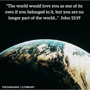 John 15-19 (NLT) The world would love you as one of its own if you belonged to it, but you are no longer part of the world. I chose you to come out of the world, so it hates you.