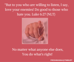 """But to you who are willing to listen, I say, love your enemies! Do good to those who hate you. Luke 6-27 (NLT) (2)"