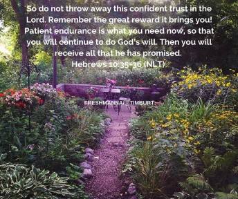 Hebrews 10-35-36 (NLT) Don't throw away your confidence